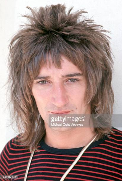 Rock singer Rod Stewart poses for a portrait on August 26 1977 in Los Angeles California