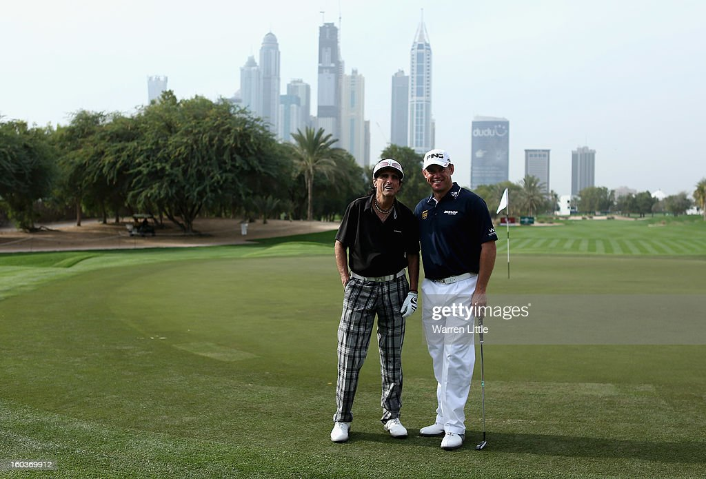 Rock Star, Alice Cooper and Lee Westwood of England pose for a picture during the pro-am of the Omega Dubai Desert Classic at Emirates Golf Club on January 30, 2013 in Dubai, United Arab Emirates.