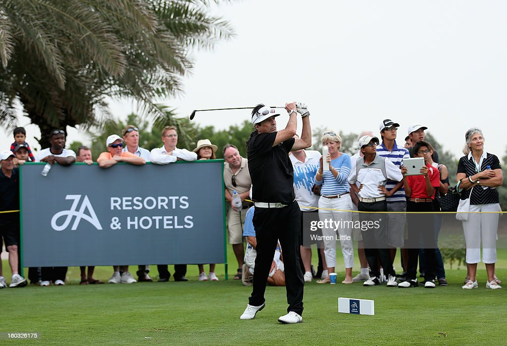 Rock Star, Alice Cooper in action during the Challenge match at The Jebel Ali Hotel and Golf Resort as a preview for the Omega Dubai Desert Classic on January 29, 2013 in Dubai, United Arab Emirates.