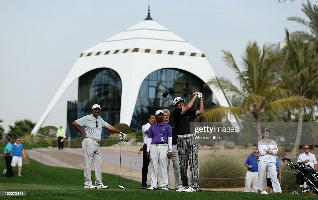 Rock Star, Alice Cooper in action during the pro-am of the Omega Dubai Desert Classic at Emirates Golf Club on January 30, 2013 in Dubai, United Arab Emirates.