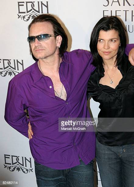 Rock star Bono of U2 and his wife Ali Hewson attend the reception that marks the launch of the new line of contemporary clothing at Saks Fifth Avenue...