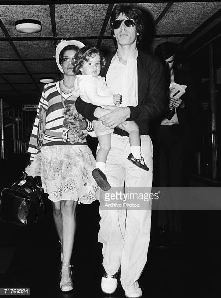Rock star Mick Jagger with his wife Bianca and their daughter Jade circa 1974