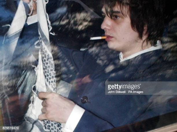 Rock star Peter Doherty in the back seat of a car after his appearance at the east London court The 25yearold exLibertines singer now of the band...