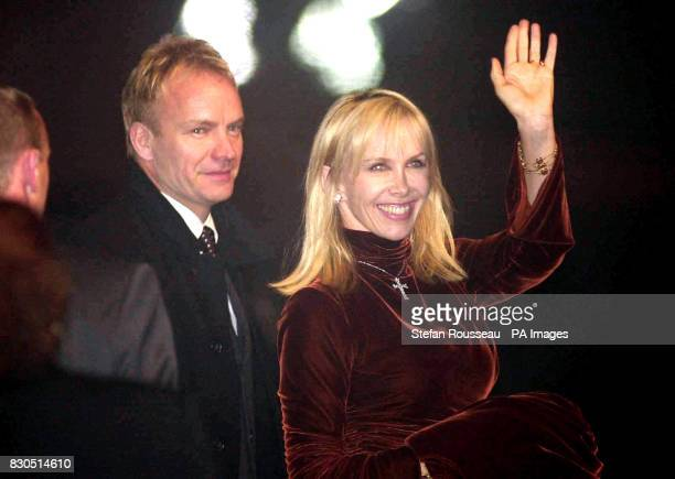 Rock star Sting and his wife Trudie Styler arrive at Dornoch Cathedral in Sutherland Scotland for the christening of American pop singer Madonna's...