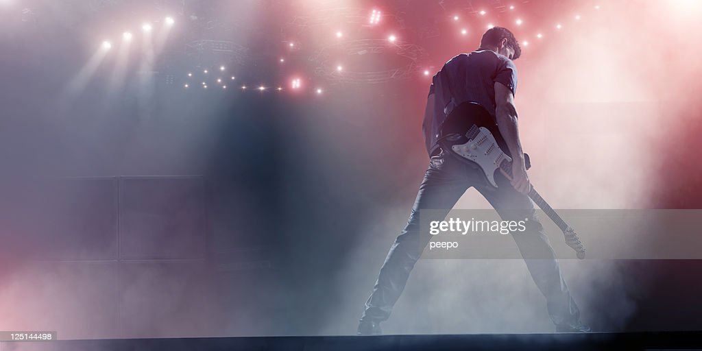 Rock Star with Guitar : Stock Photo