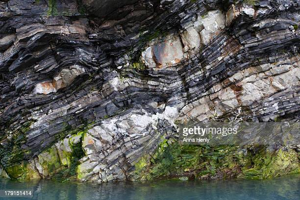 Rock strata of basalt and quartz
