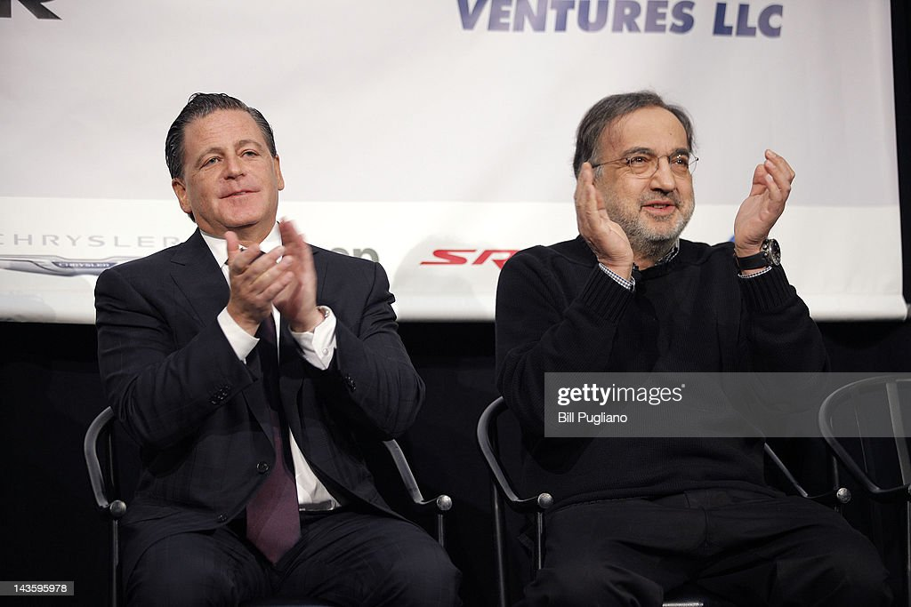Rock Ventures and Quicken Loans Chairman Dan Gilbert (L) and Chrysler Group Chairman and CEO Sergio Marchionne announce that Chrysler will have an office presence in downtown Detroit for the first time April 30, 2012 in Detroit, Michigan.The Chrysler Group will be renaming the Rock Ventures Historic Dime Building the 'Chrysler House'.