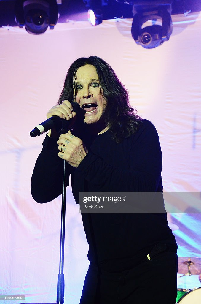 Rock vocalist <a gi-track='captionPersonalityLinkClicked' href=/galleries/search?phrase=Ozzy+Osbourne&family=editorial&specificpeople=138608 ng-click='$event.stopPropagation()'>Ozzy Osbourne</a> performs at the L.A. Gay & Lesbian Center's 2013 'An Evening With Women' gala at The Beverly Hilton Hotel on May 18, 2013 in Beverly Hills, California.