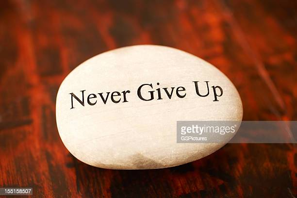 Rock with 'Never Give Up' written on it