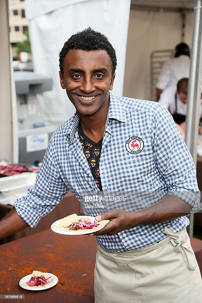 Rock Your Taco contestant <a gi-track='captionPersonalityLinkClicked' href=/galleries/search?phrase=Marcus+Samuelsson&family=editorial&specificpeople=2143367 ng-click='$event.stopPropagation()'>Marcus Samuelsson</a> shows off his entry during the Austin Food & Wine Festival at Republic Square Park on April 27, 2013 in Austin, Texas.