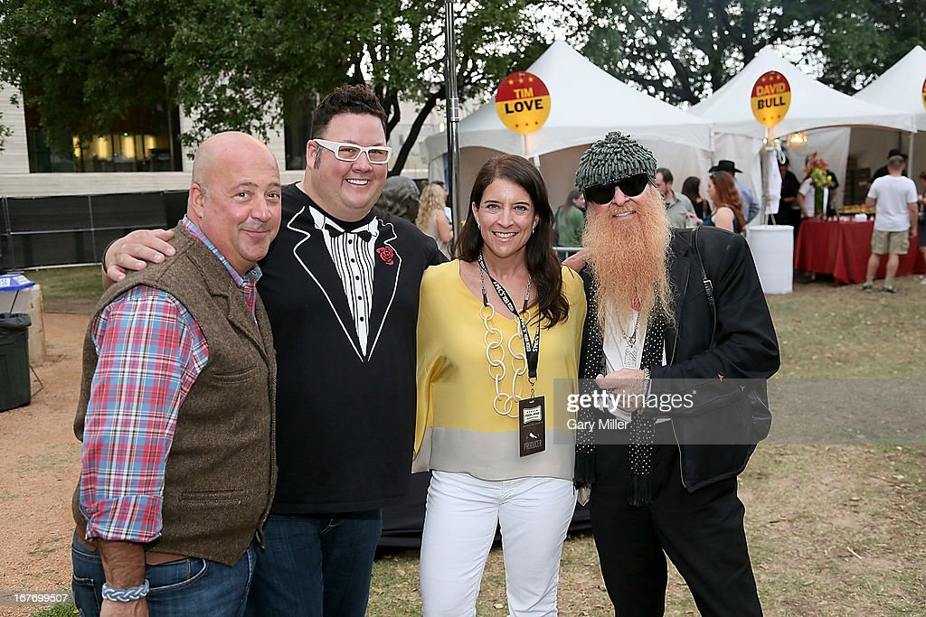 Rock Your Taco judges Andrew Zimmern, Graham Elliot, Christina Gordavic and Billy Gibbons pose during the Austin Food & Wine Festival at Republic Square Park on April 27, 2013 in Austin, Texas.