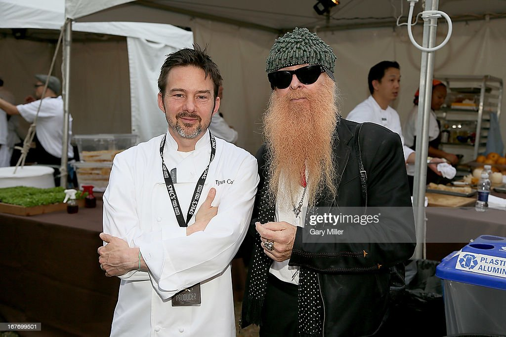 Rock Your Taco Tyson Cole (L) and celebrity judge <a gi-track='captionPersonalityLinkClicked' href=/galleries/search?phrase=Billy+Gibbons&family=editorial&specificpeople=242873 ng-click='$event.stopPropagation()'>Billy Gibbons</a> pose during the Austin Food & Wine Festival at Republic Square Park on April 27, 2013 in Austin, Texas.