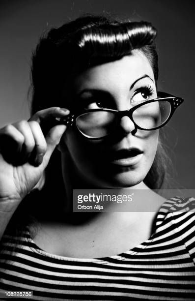 Rockabilly Woman Posing with Cat Eye Glasses, Black and White