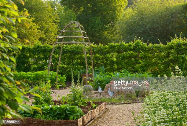 Rockckuffe house, Gloucestershire: The Walled Vegetable/ Kitchen Garden with Cloches and Raised Beds