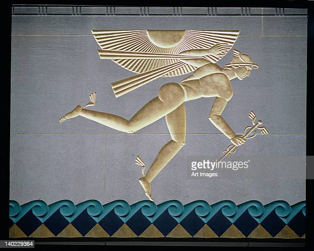 Bas-relief depicting Mercury from the exterior of one of the 14 buildings, built 1931-40
