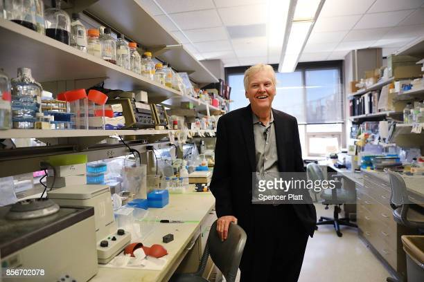 Rockefeller University biologist Michael Young stands in his lab after winning the Nobel Prize in Physiology or Medicine on October 2 2017 in New...