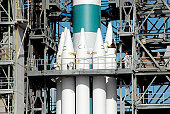 Rocket boosters attached to the Delta II rocket prior to launch.