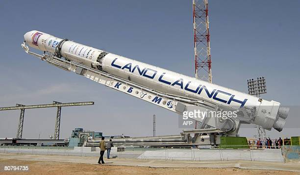 A rocket carrying an Israeli 'Amos3' telecommunications satellite is installed on a launch pad at Kazakhstan's Baikonur cosmodrome on April 21 2008...