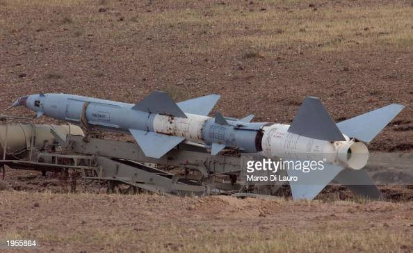 A rocket found at a site suspected of housing chemical weapons lies on the ground April 28 2003 after being discovered by US troops in the outskirts...