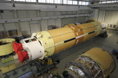 A HIIB rocket is manufactured at Mitsubishi Heavy Industries Ltd's Nagoya Aerospace Systems Works Tobishima Plant in Tobishima Village Aichi...