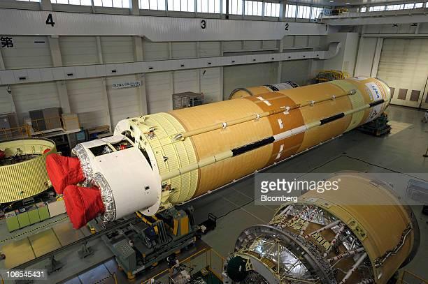 A HIIB rocket is manufactured at Mitsubishi Heavy Industries Ltd's Nagoya Aerospace Systems Works Tobishima Plant in Tobishima Village Aichi...