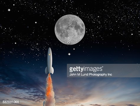 Rocket launching into outer space