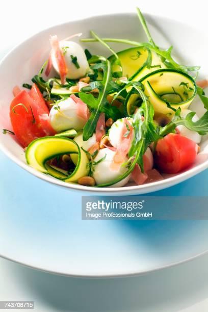 Rocket lettuce,zucchini,mozzarella,tomato and raw ham salad
