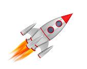 Rocket missile chrome space 3D