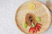 Rocket, moon and stars pancake breakfast, fun food art for kids