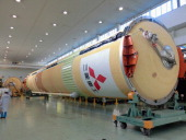 A H2A rocket was shown to the press at a Mitsubishi Heavy Industries Ltd factory on January 16 2014 in Tobishima Aichi Japan This H2A rocket is...