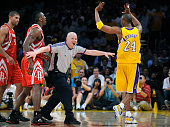 Rockets Ron Artest and Lakers Kobe Bryant has to be seperated by referee Joey Crawford in Game 2 in the semifinal of the NBA playoffs at the Staples...