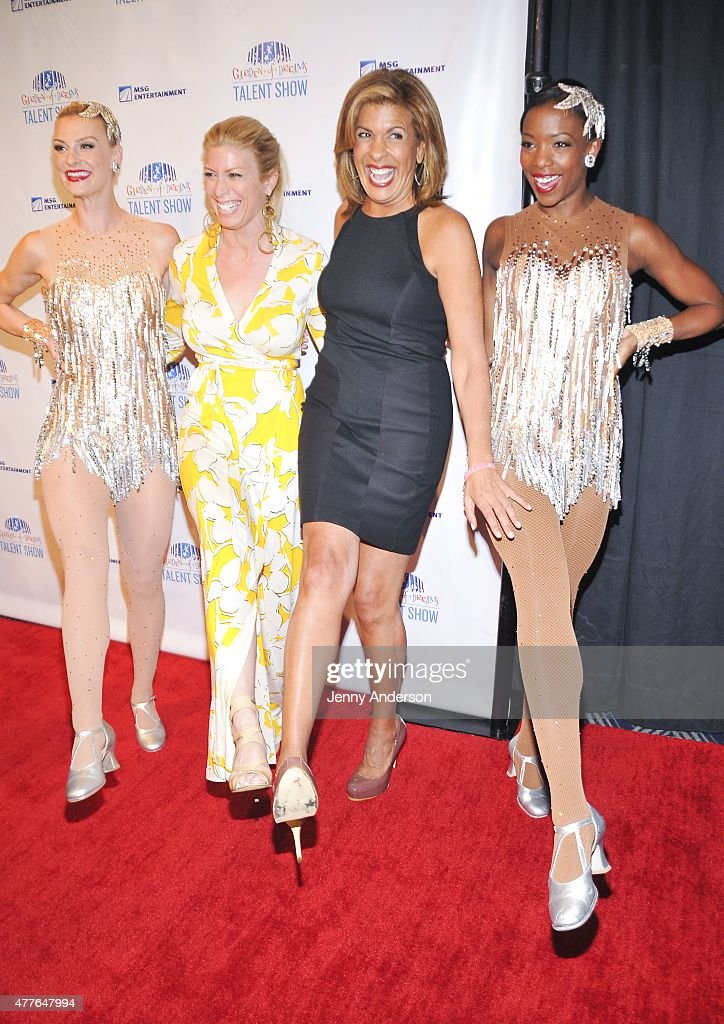 Rockettes Lindsay Howe and Danelle Morgan flank Jill Martin and Hoda Kotb at the Garden of Dreams Foundation Children Talent Show at Radio City Music...
