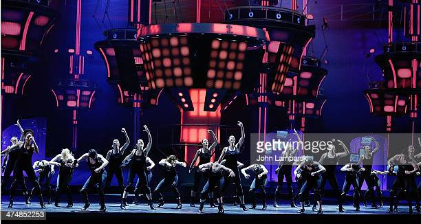 Rockettes Rehearse on stage during the 'Hearts And Lights' press preview at Radio City Music Hall on February 25 2014 in New York City
