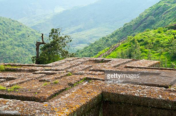 rock-schlichtem church of St. George (Wahl Giyorgis) in Lalibela, Äthiopien