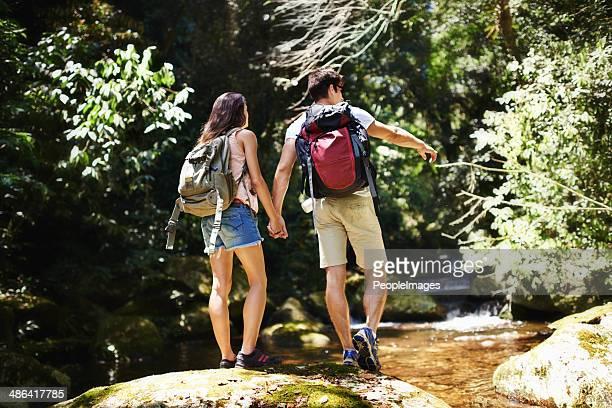 Rock-hopping across the stream