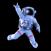 Rocking Astronaut on a black background, 3d render with a work path
