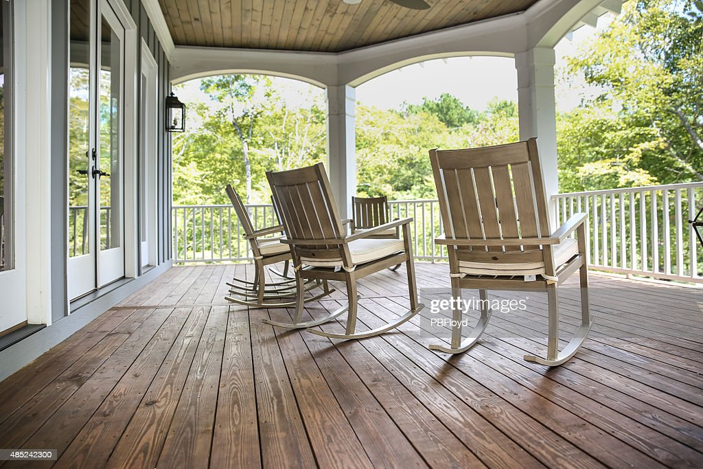 Rocking Chairs On A Southern Porch : Stock Photo