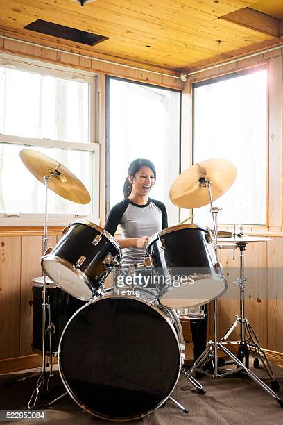 Rocking out on the drums