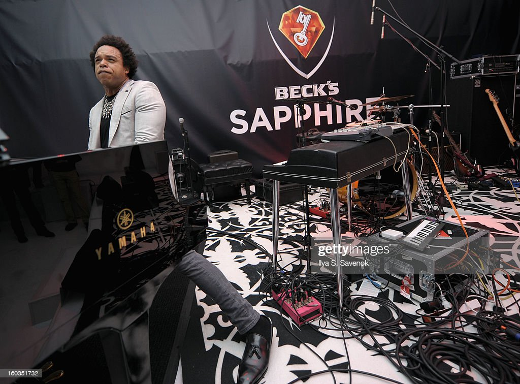 Rock/jazz pianist Elew performs on stage during No Diggity, No Doubt: Beck's Sapphire Pops Up To Celebrate Super Bowl on January 29, 2013 in New York City.