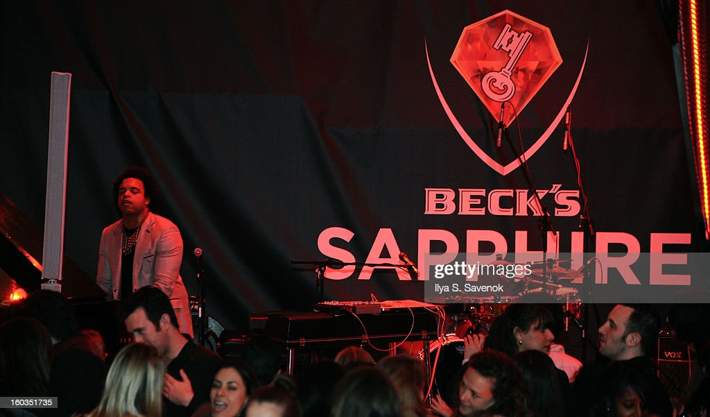 Rockjazz pianist Elew performs on stage during No Diggity, No Doubt: Beck's Sapphire Pops Up To Celebrate Super Bowl on January 29, 2013 in New York City.