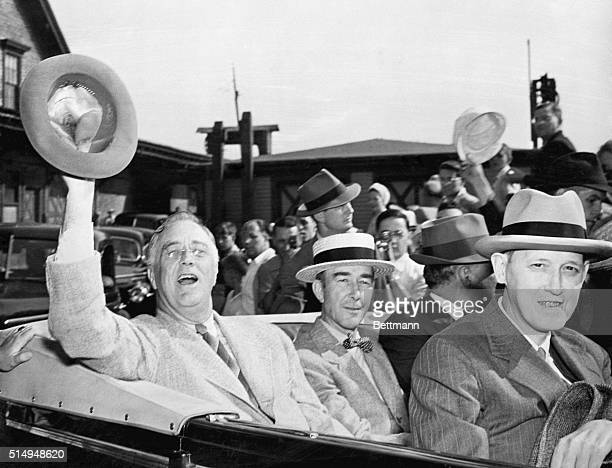 8/16/1941 Rockland ME President Franklin D Roosevelt waves to the crowd from his car after leaving the White House Yacht Potomac at Merrills Wharf...