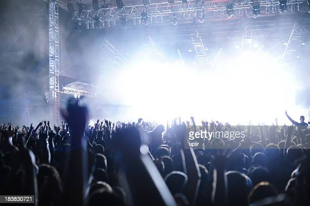 Rock'n'roll gig (rock concert), multiple people silhouettes hands screaming dancing