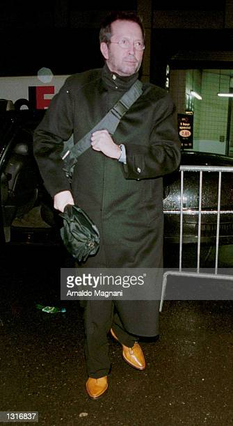 RockNRoll great Eric Clapton arrives at a gala concert for the Wyclef Jean Foundation January 19 2001 at Carnegie Hall in New York City