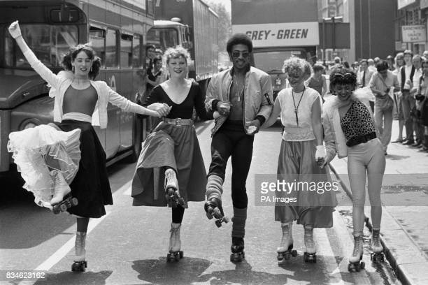 Rock'n'Rolling in London today are members of 'The Body Machine' From Left Karen McAlister Andrea Arnold Tony Thomas Shirley Jones and Jay Carly