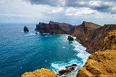 Rocks and cliffs and ocean view at Ponta de Sao Lourenco, Madeira island, Portugal