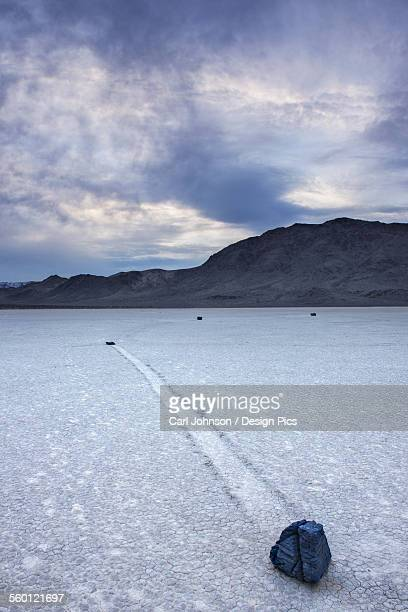 Rocks and dried lake bed at the Racetrack in Death Valley National Park