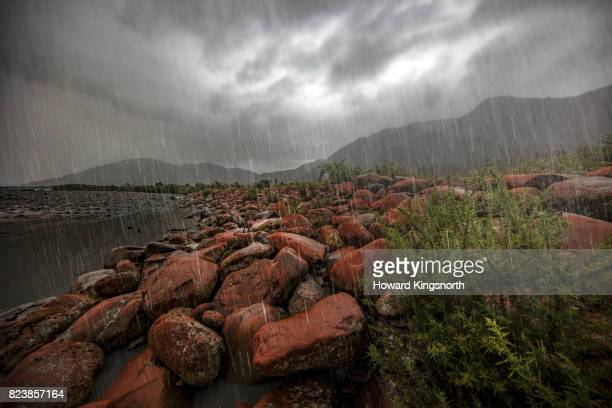 Rocks and Riverbed in a rainstorm