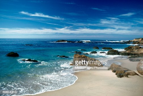 Rocks at a coastline of a sea, Bean Hollow Beach, Highway 1, California, USA : Stock Photo