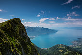Lake Geneva and Montreux city viewed from Rochers de Naye.