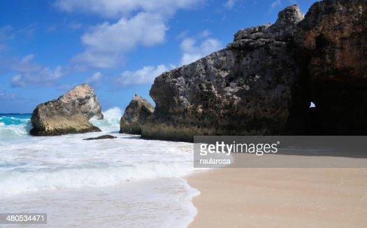 Rocks on Barbados beach : Stock Photo